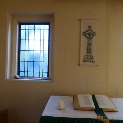 Open bible and window light at St Peters Onehunga