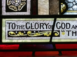 Stained Glass window St Andrew's Epsom To The Glory of God