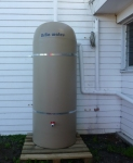 Rainwater collection tank at St Barnabas Community Garden