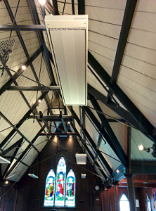 Interior of St Luke's Mt Albert showing new radiant heaters