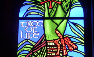 St Mary's Parnell stained glass window showing tree of life