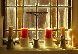 Candles on windowsill at St Peter's Onehunga