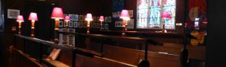St Andrew's, Epsom interior photo of choir stalls.