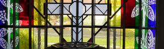 Papakura Anglican interior stained glass window.