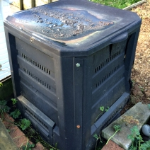 Smaller, commercial plastic compost bin