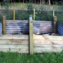 Larger 2-bay compost bin