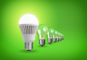 led-bulb-green-background